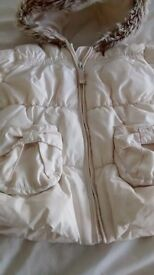Girls Next winter coat - age 18 mths-2yrs - ivory, warm, hooded