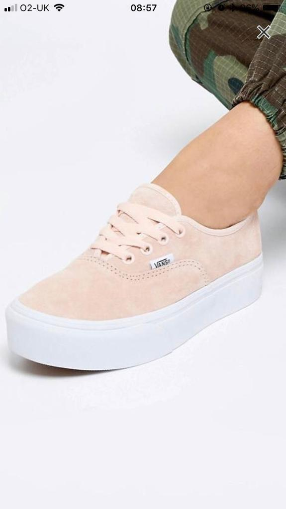 96141b4ae85 Vans Pink Authentic Platform Suede Trainers - size 5 6