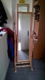 """Pine Retro Free-Standing Tilting Dressing Room Mirror, Mirror 4ft x 14"""" Can Deliver at Cost vgc"""