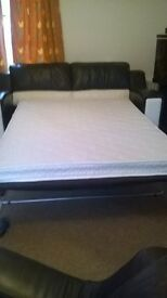 LEATHER BED SETTEE 2 ARM CHAIRS