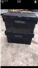 Heavy duty plastic storage tote/crate boxes