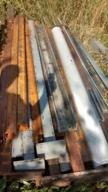 METAL POSTS 2.4 METRES LONG,WITH FOOTPLATES,FOR SALE,80MM BOX SECTION,4MM GAUGE,£20 EACH ONO,