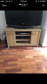 Oak Finish TV Display Cabinet