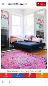 Persian style pink runner rug
