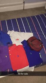 Polos and Jacket and Nike bag