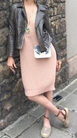 Pale pink jersey dress UK8