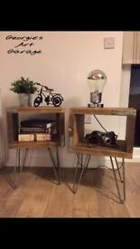 Solid handmade industrial style bedside table set