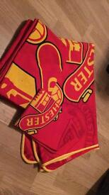 Manchester United single bedding with matching blanket