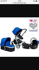 Little devils 3 in 1 pram blue and red