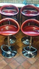 4 BAR/BREAKFAST BAR STOOLS IN DARK RED