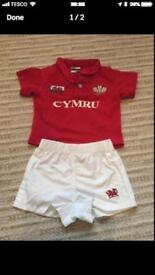 Toddler age 2 welsh rugby kit