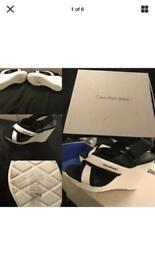 Calvin Klein Jeans Wedge Sandals size 5 NEW