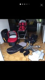 Uppababy Buggy Travel System Maxi-Cosi Pebble & Maxi-Cosi Pearl, Family Fix ISO) with Extras (Red)