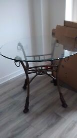 Ornate glass table and 4chairs . £110