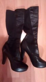 Black platform real leather designer funky boots stretch heel 4,5 inches size 5-6 £20