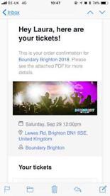 2 x Boundary Brighton 2018 festival tickets