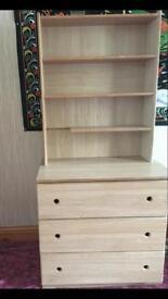 Solid pine 3 drawer dresser with bookshelf
