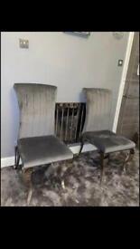 4 brand new chrome dinning chairs £420
