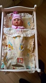 Dolls Wooden Bunk-bed with bedding.