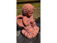 TERRACOTTA ANGEL/CHERUB WITH DOVE GARDEN ORNAMENT