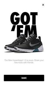 Nike hyperadapt UK 9.5