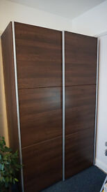 Ikea walnut/ white wardrobe with sliding doors, 2 rails and trouser rack