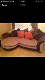 Dfs 4 seater sofa, swivel chair and footstool.