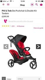 Phill and teds dot double pushchair