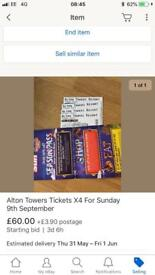 Alton towers tickets x4 9th September