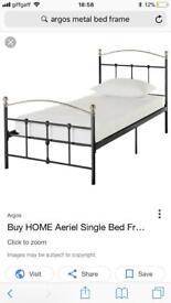 Black and sliver metal frame bed only