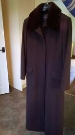 Windsmoor full length, dark brown wool ladies coat