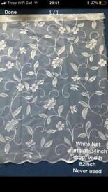White net curtains 34x82inch