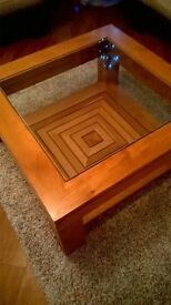 oak and glass coffee table, side table and console (tv) table. matching. excellent condition.