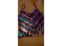 River Island sequin crochet knit cami top - hardly worn - size 12
