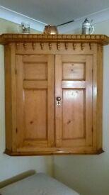Large Antique Pine Corner Cupboard