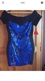 Lashes Size 12 Black Bodycon Dress With Blue Sequins