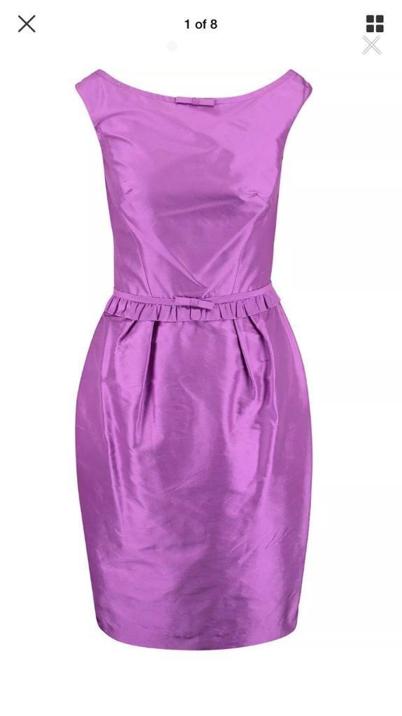 7edd38c979 LUISA SPAGNOLI Violet Silk Apron Dress Size 44-RRP £298 | in ...