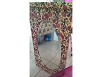Large oval vintage decoupaged bevelled edge mirror
