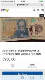 Ab44 Bank of England polymer £5