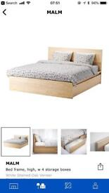 Ikea Malm Double Bed - incl. mattress & 4 x storage drawers