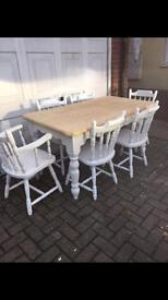 Farmhouse table and. Chairs