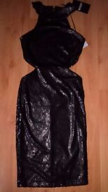 xmas party idea missguded Little black dress sequin new with tags zipped size 6, £18 beautiful