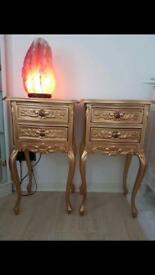 Pair new gold bedside cabinets stunning