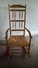 Pine Rocking Chair with Rattan Seat