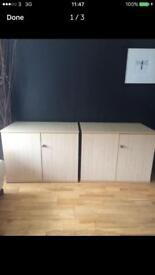 2 x solid pine coloured storage units