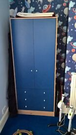 pine and blue wardrobe