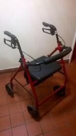 DRIVE MEDICAL LIGHTWEIGHT ALUMINIUM RED 4 WHEEL ROLLATOR (£45 new) excellent central London bargain