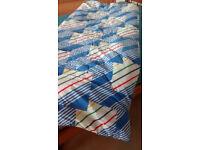 Sleeping bag, single, 72oz (2041 gm), branded Polywarm, cotton/polyester, zip, good condition,