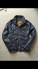 SUPERDRY men's brown leather aviator jacket