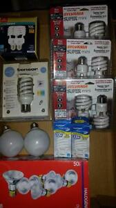 21 light bulbs :13 sylvania bulbs cfl  & 8 halogene 50 watts see picturesTAKE ALL FOR $10  Item is located near keel an